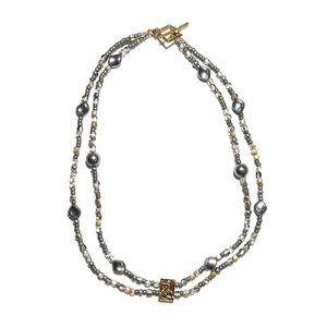 Gold & Faux Black Pearl Double Strand Necklace